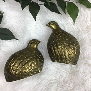 Vintage Brass Regency Pair of Quail Bird Figurines